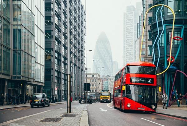 UK consumer behavior double decker bus on London street